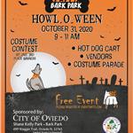 Flyer for the Bark Park Howl O Ween Dog Event