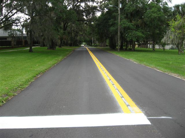 A newly paved and painted road.