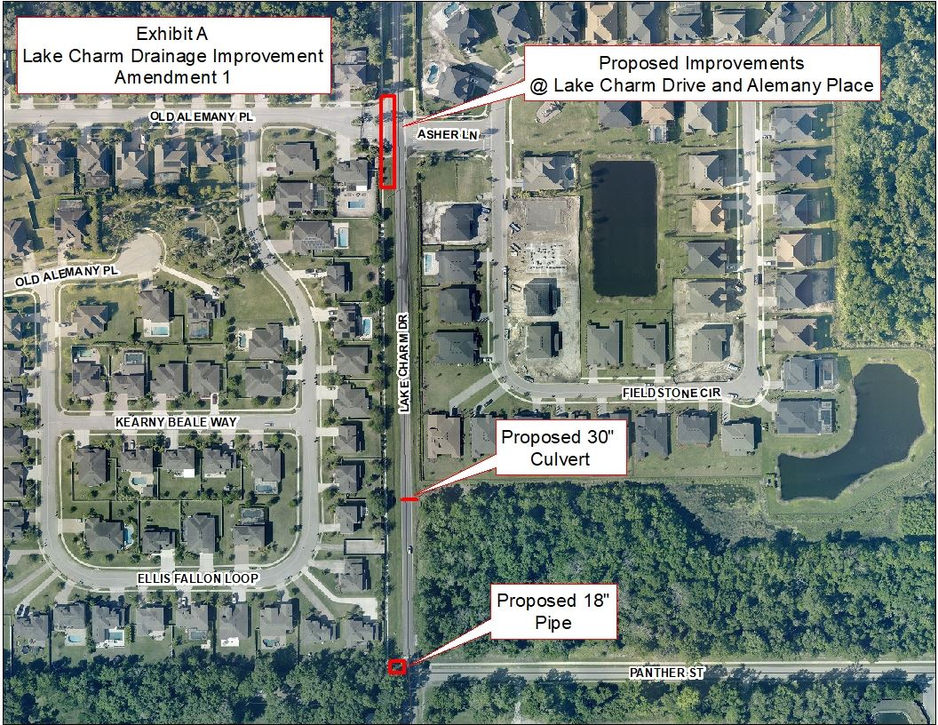 Map of the improvements scheduled for Lake Charm Drive in Oviedo Florida