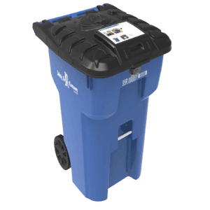 Picture of blue bear proof trash can