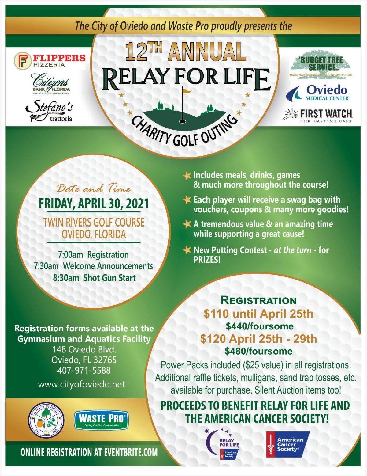 Relay for Life Golf Outing Friday, April 30 - register at gymnasium, aquatics facility or eventbrite