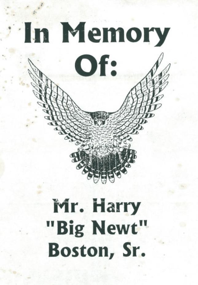"Black Hawks mascot image of hawk on ""Big Newt's"" memorial program"